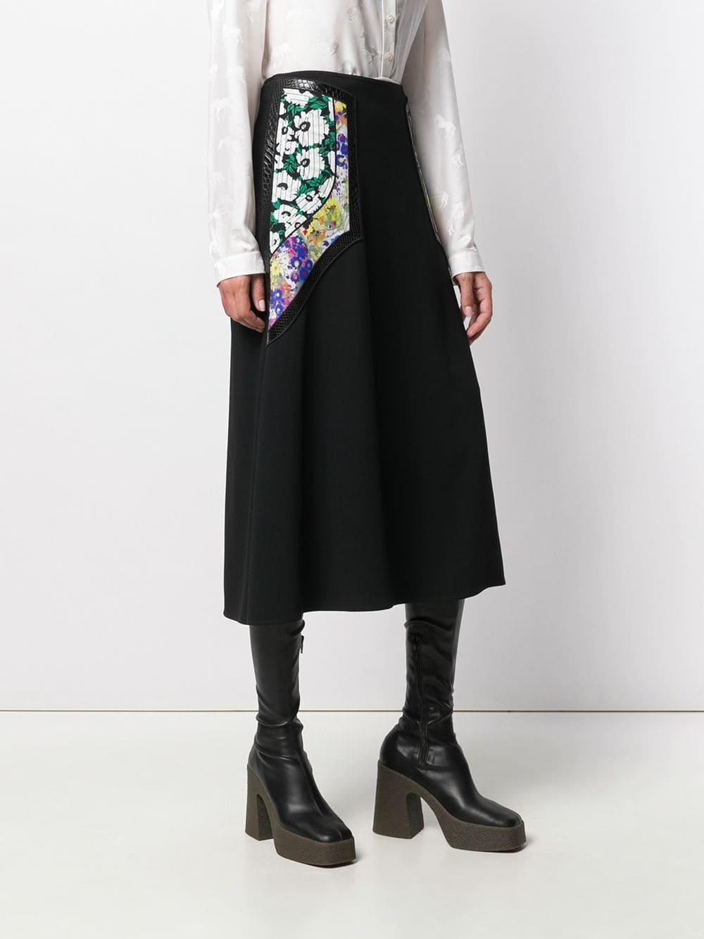 Falda midi con paneles con motivo floral Stella McCartney de Tejido sintético de color Negro
