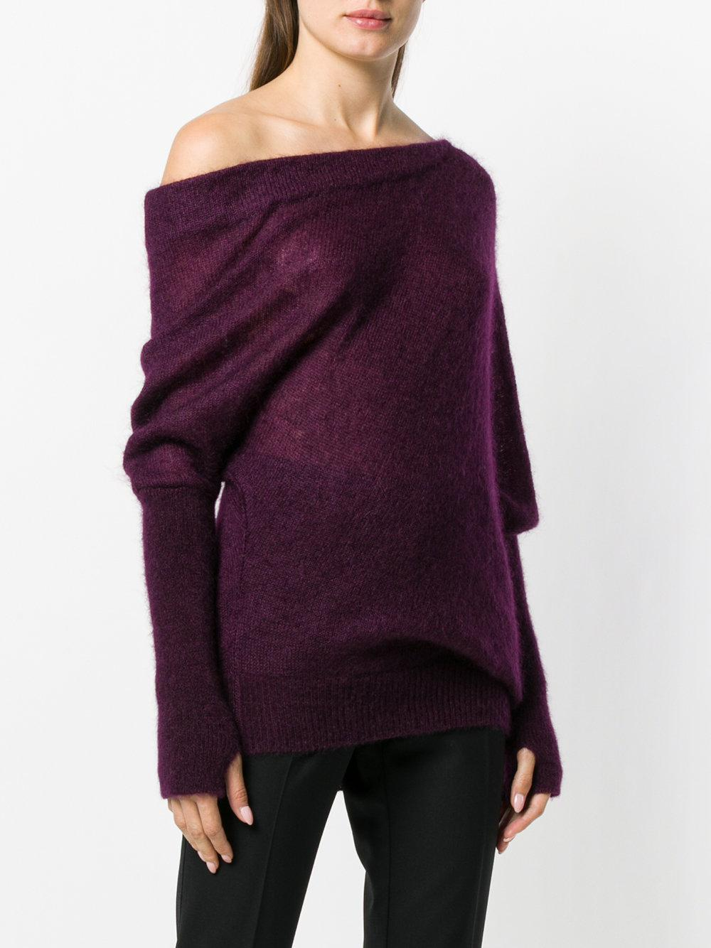 Tom Ford Cashmere One-shoulder Mohair-silk Sweater With Thumbholes in Pink & Purple (Purple)