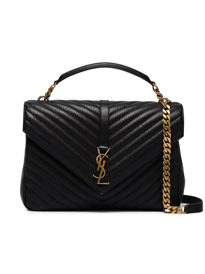 Saint Laurent Collège Quilted Leather Shoulder Bag in Black - Save ... 95d5bdf5a9bcd