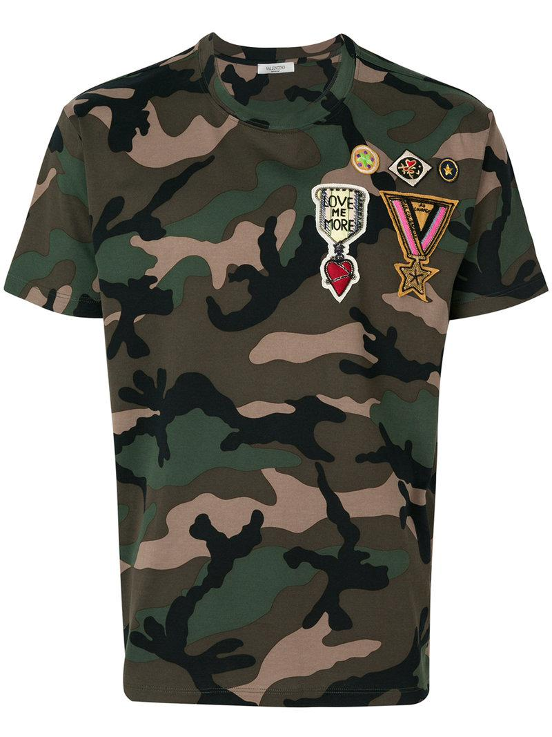 Valentino Badge Appliqu D Camouflage T Shirt In Green For