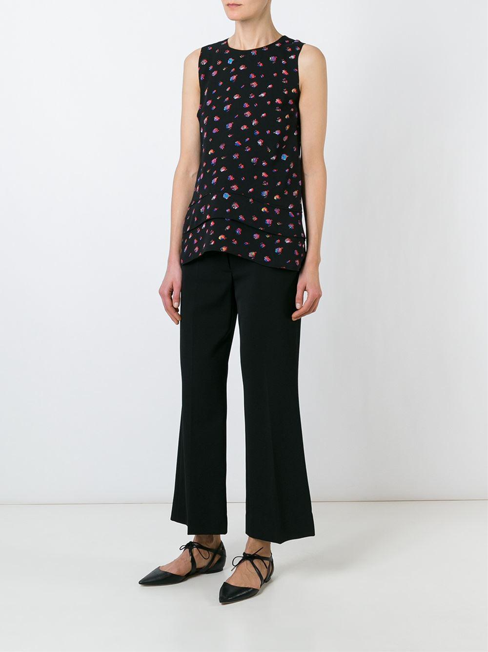 Proenza Schouler Silk Sleeveless Floral Blouse in Black