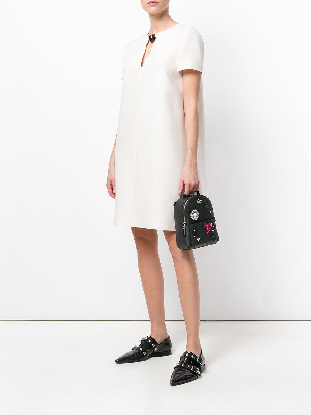 Kate Spade Synthetic Mini Appliqué Embellished Backpack in Black