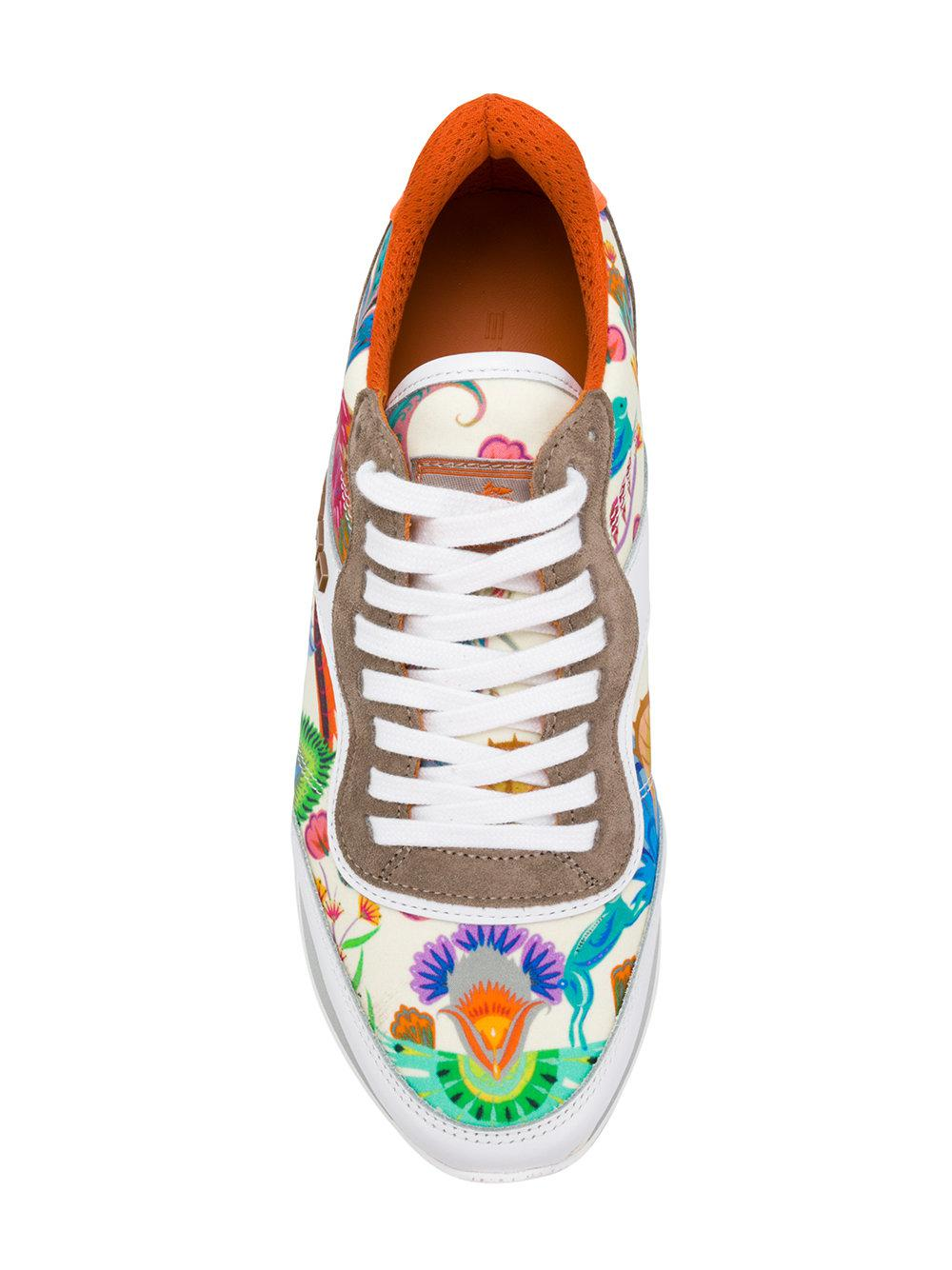 Etro Leather 20mm Paisley Satin Running Sneakers