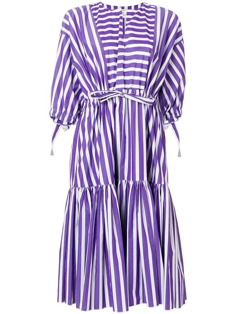 Sale Find Great striped off the shoulder dress - Pink & Purple Maison Rabih Kayrouz Clearance Reliable Best Seller ZIt1ekjXqK