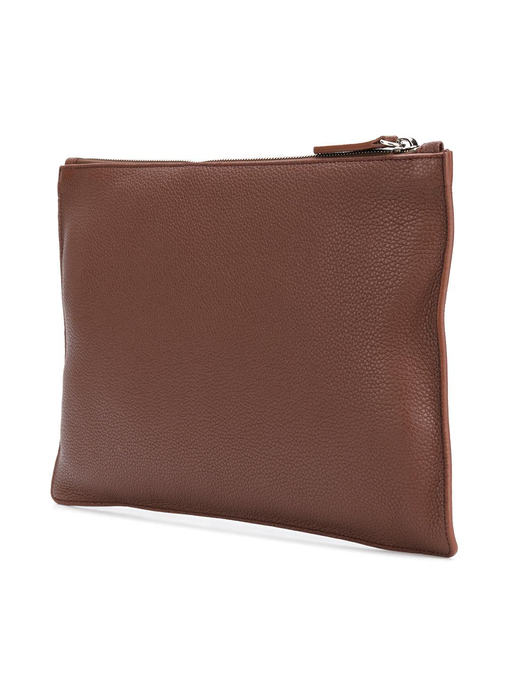 Jil Sander zipped logo clutch - Brown GVmXj9J