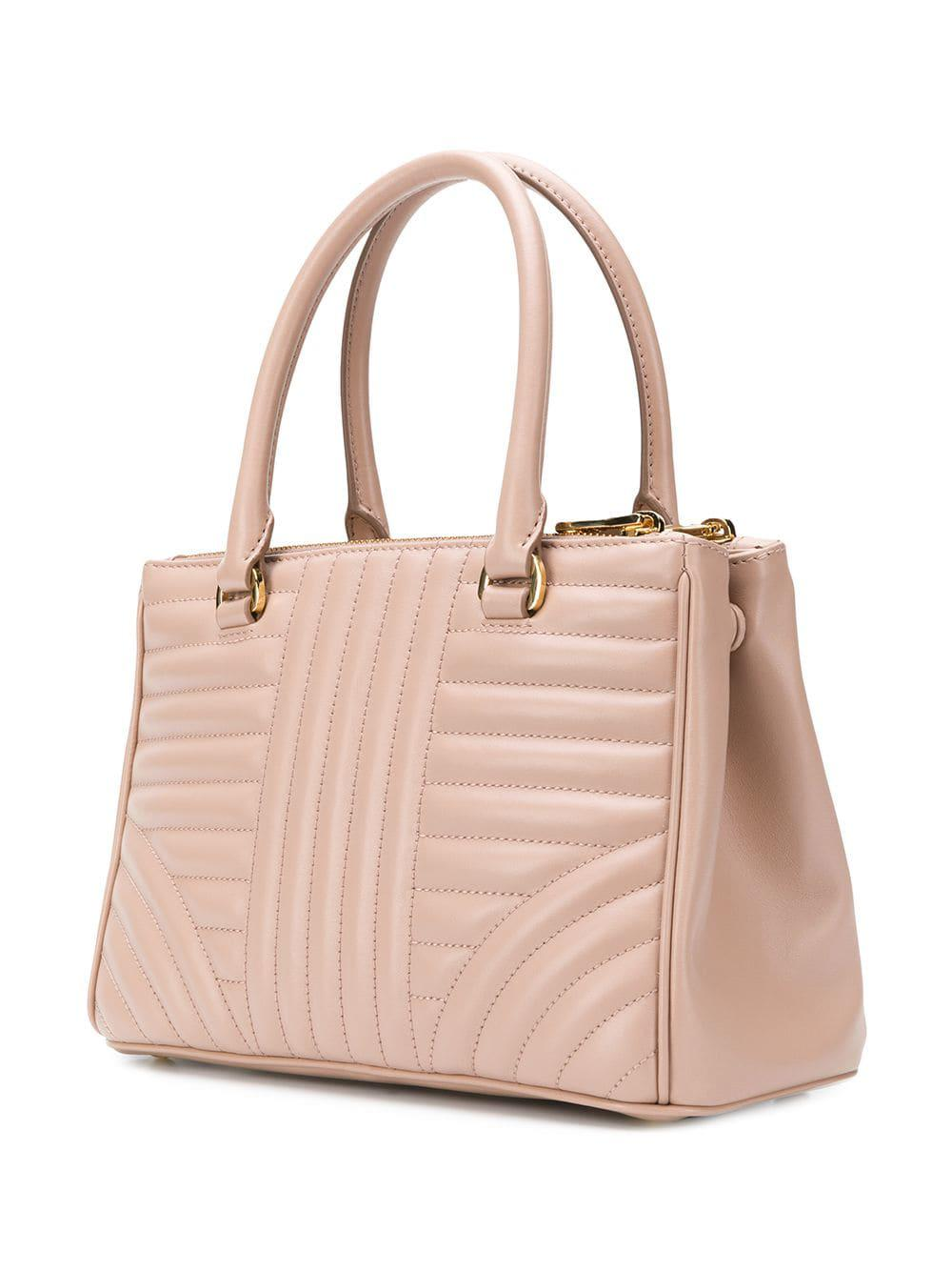 Prada Leather Quilted Logo Tote Bag in Pink