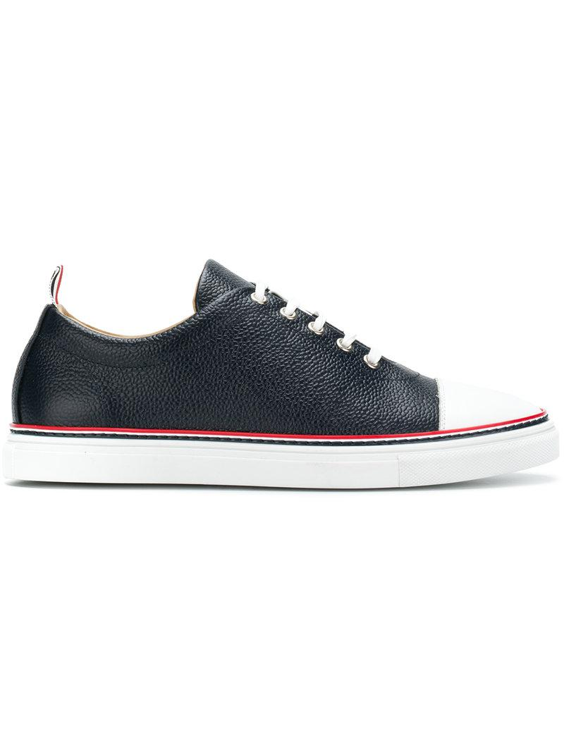 Striped Straight Toe Cap Leather Trainer - Blue Thom Browne