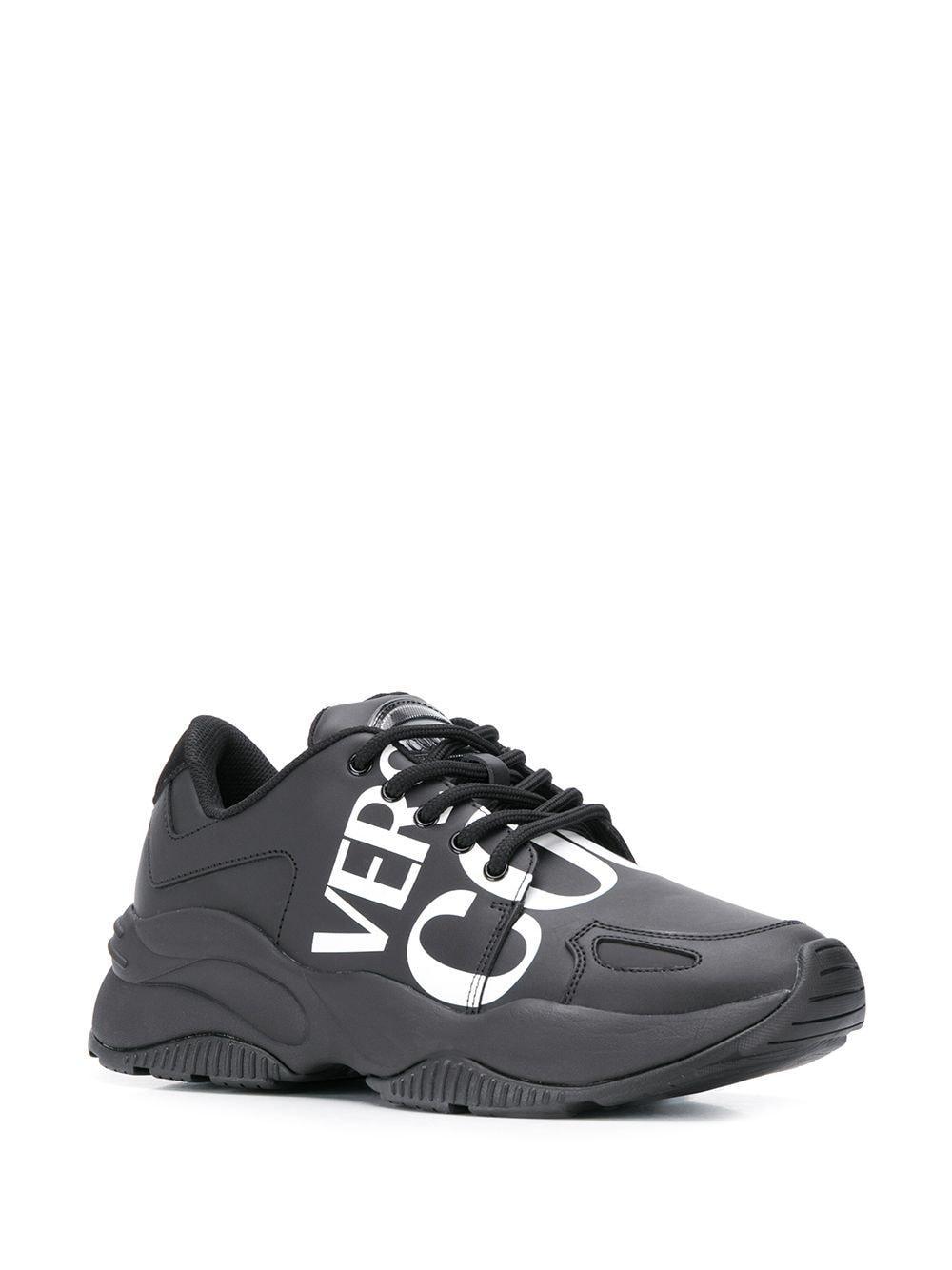 Versace Jeans Couture Leer Sneakers Met Logoprint in het Zwart voor heren