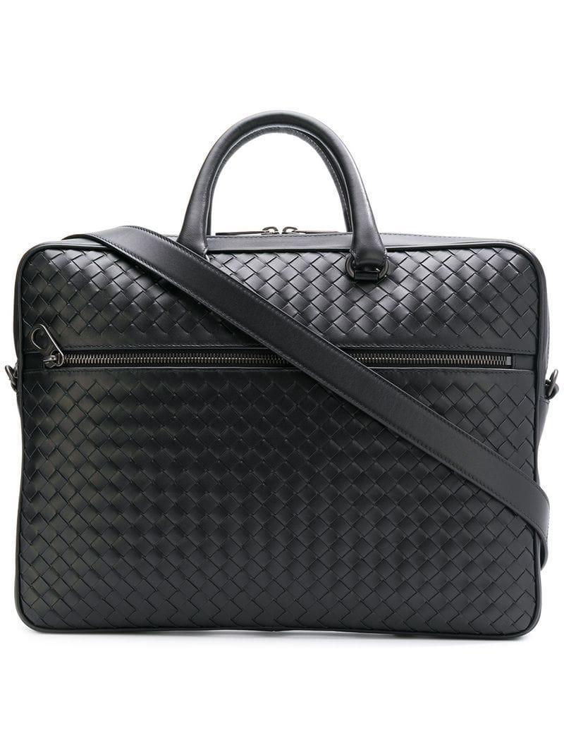 b540f26b8f7d Bottega Veneta Intrecciato Weave Leather Briefcase in Black for Men ...