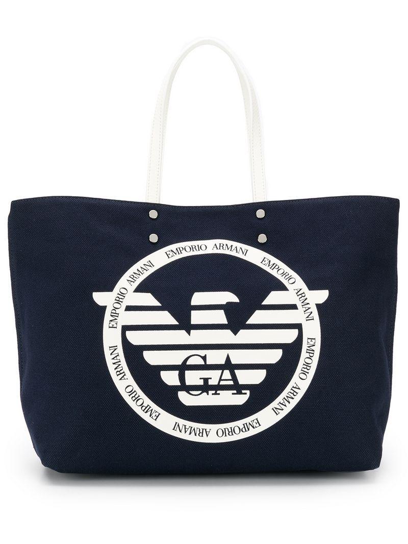 920daddcee Emporio Armani Logo Canvas Tote in Blue - Lyst
