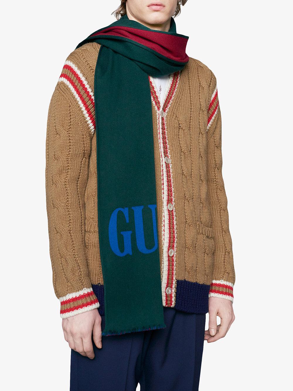Lyst - Foulard en jacquard de laine et soie avec logo Gucci pour ... 3f81d35835b