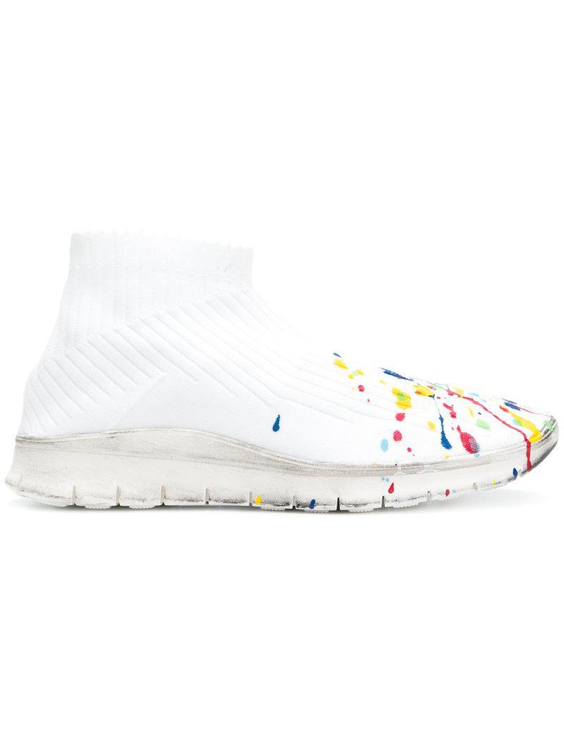 de501efbdbed Lyst - Maison Margiela Paint Splatter Sock Sneakers in White for Men ...