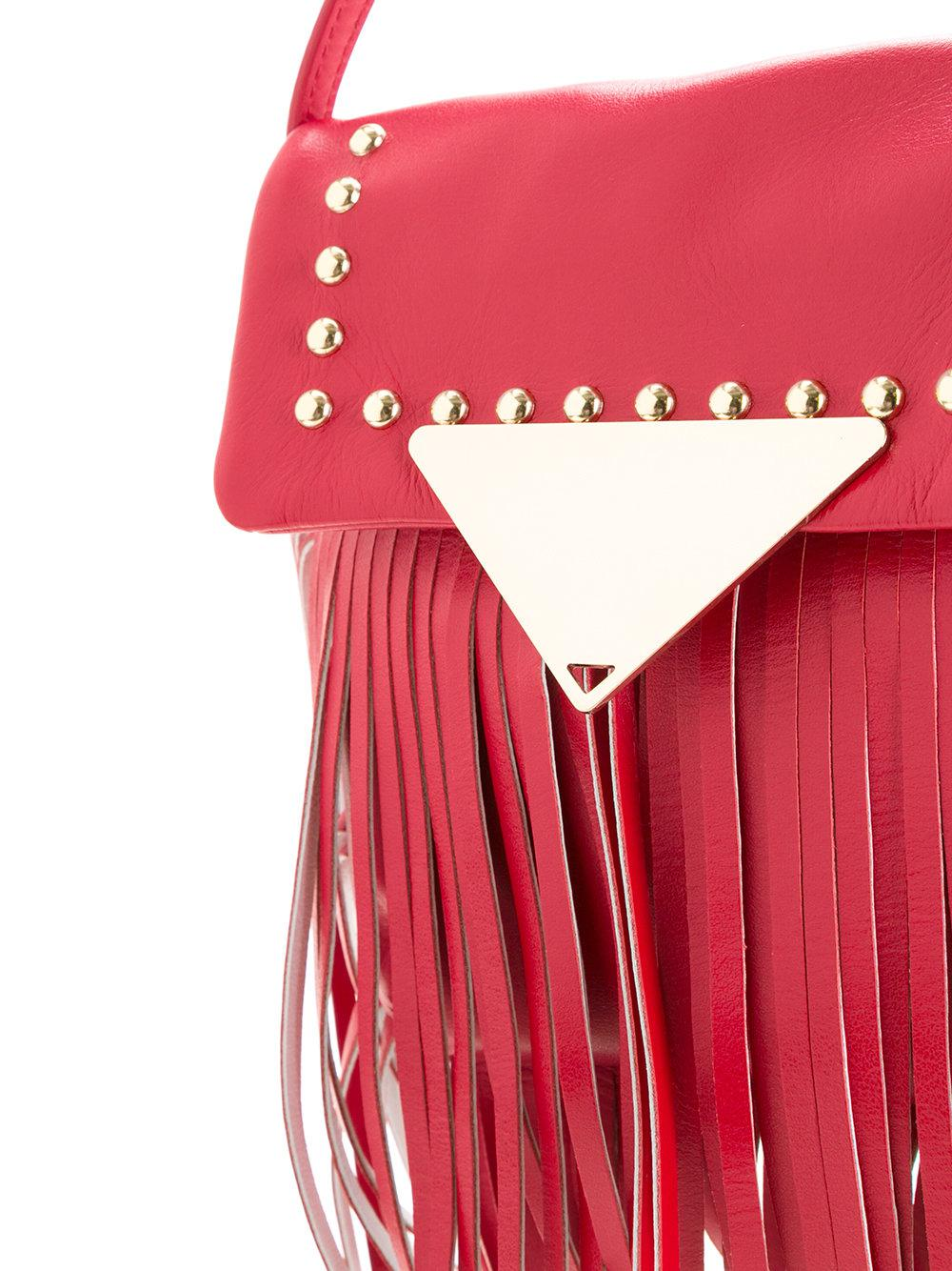 Sara Battaglia Leather Fringed Studded Crossbody Bag in Red