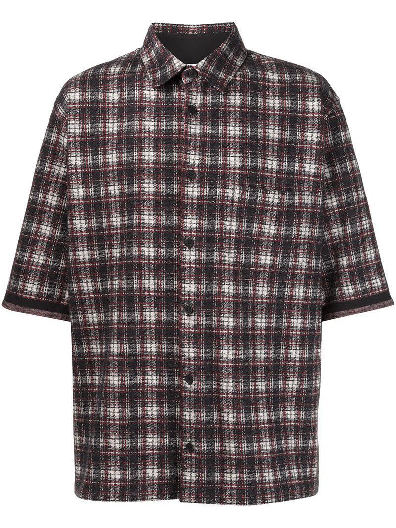 Lyst aganovich plaid shirt in black for men for Black plaid shirt mens