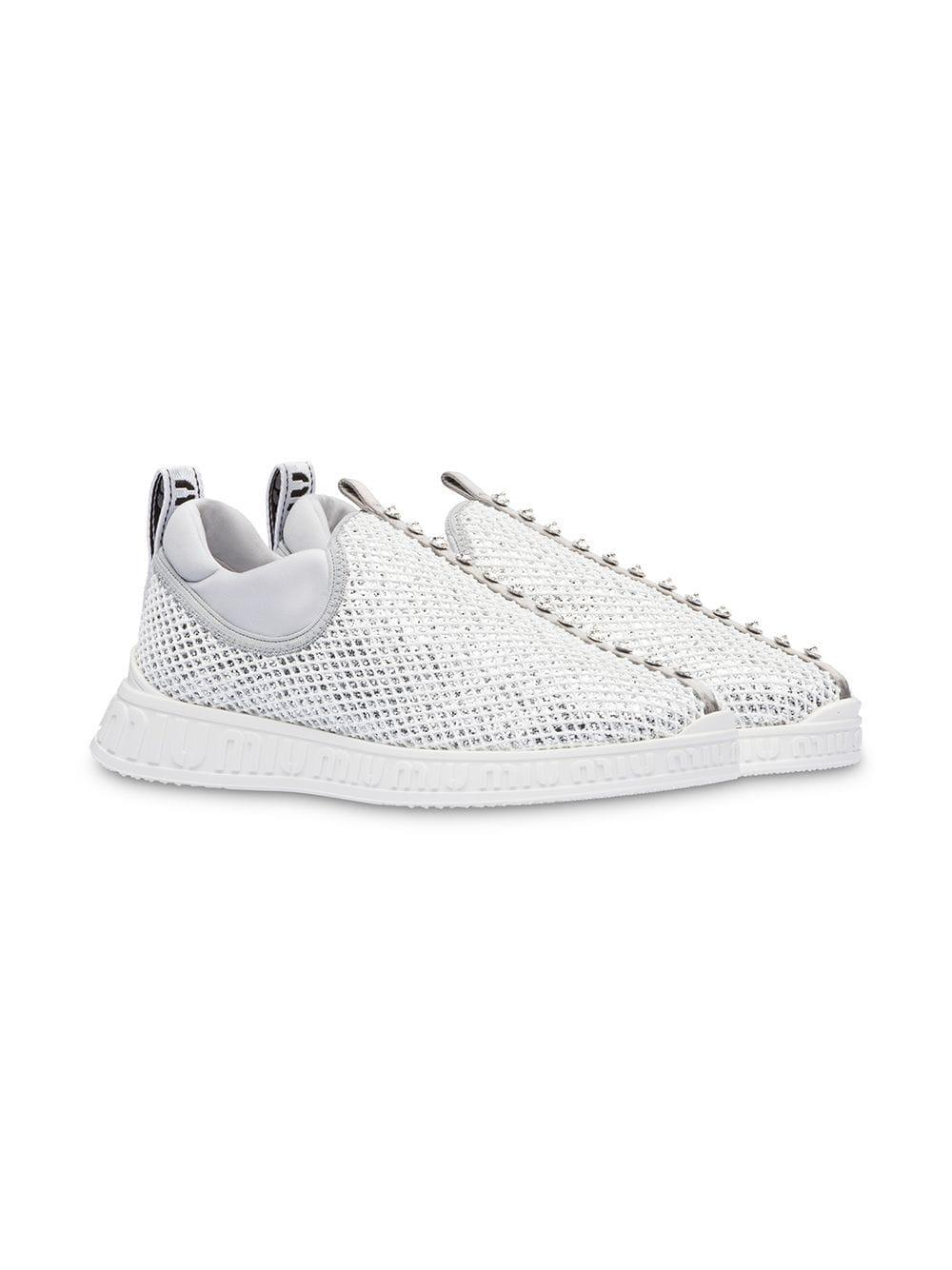 2e252e767e28 Lyst - Miu Miu Miu Run Glitter Slip-on Sneakers in Metallic