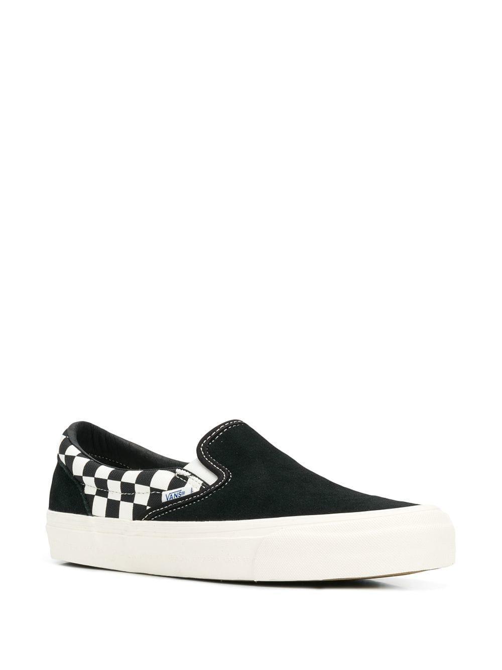 Black British Plaid Red Checkerboard print skateslipons sneakers Shoes