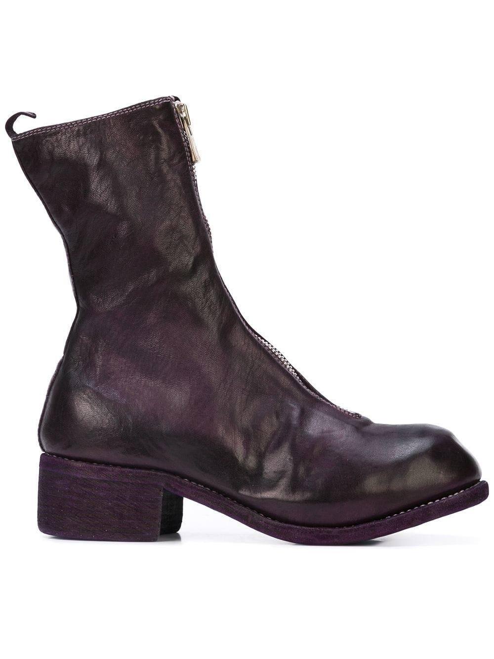 Guidi Leather Front Zip Boots in Pink & Purple (Purple)