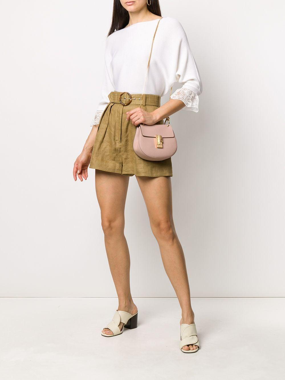 Mini sac porté épaule Drew Cuir Chloé en coloris Rose