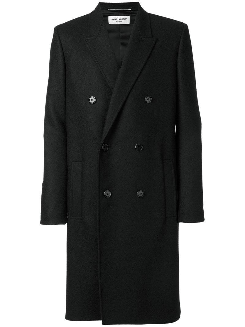 69d3ca9cfc5 Saint Laurent - Black Belted Double Breasted Coat for Men - Lyst. View  fullscreen