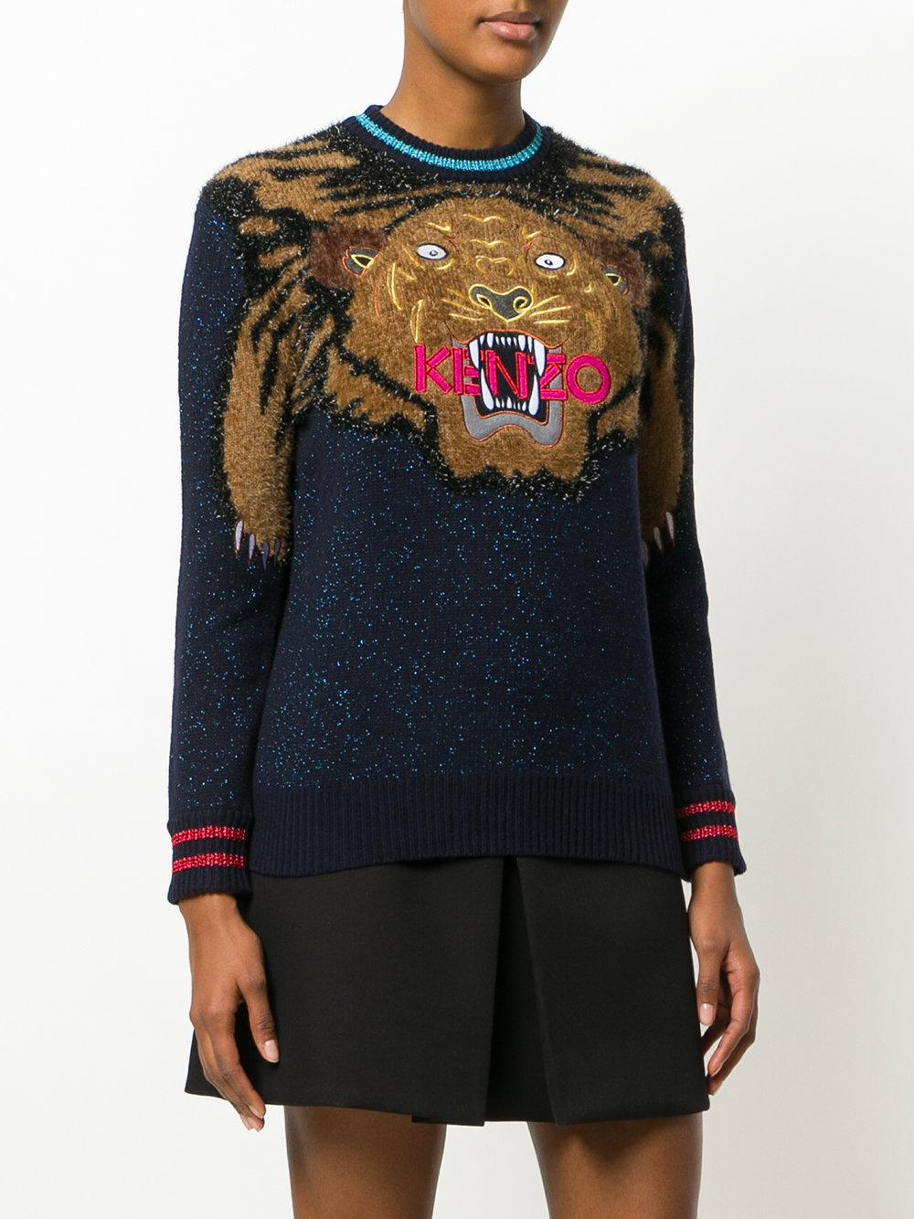 Kenzo Holiday Capsule Collection Embroidered: Kenzo Embroidered Tiger Christmas Jumper In Blue