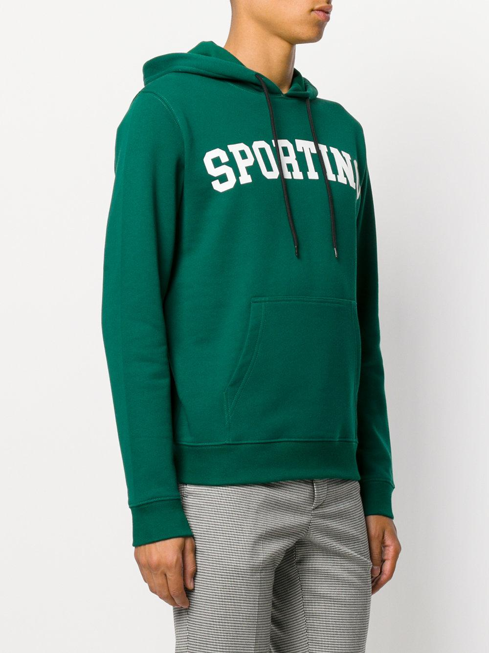 MSGM Cotton Sporting Hoodie in Green for Men