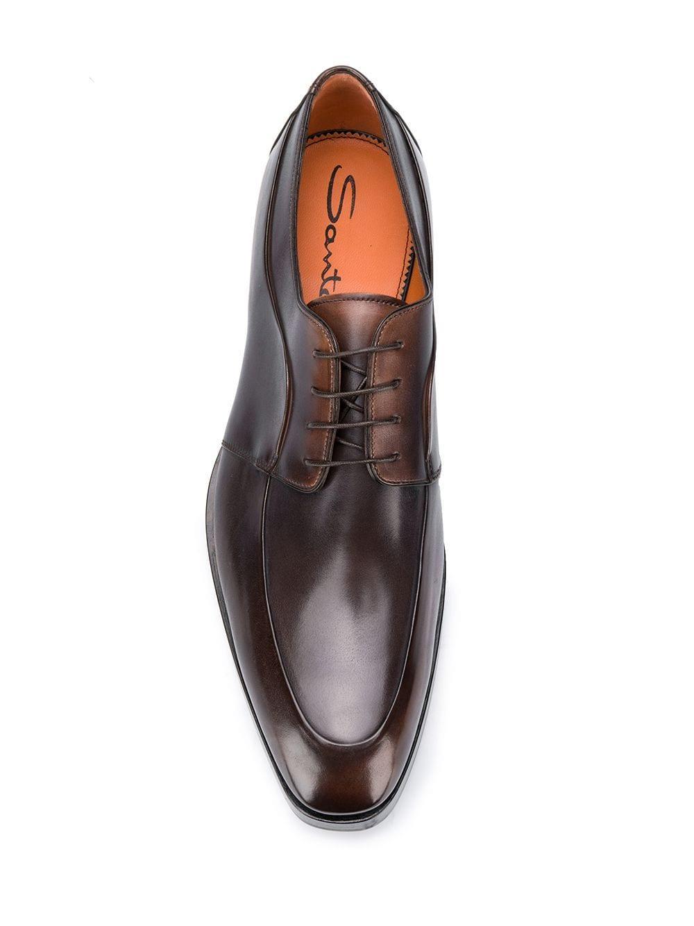 Zapatos derby con cordones Santoni de Cuero de color Marrón para hombre