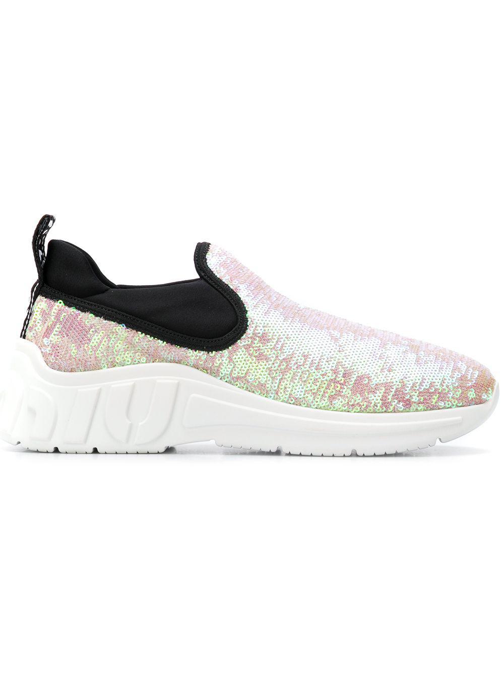 Miu Miu Cotton Slip-on Sequin Trainers