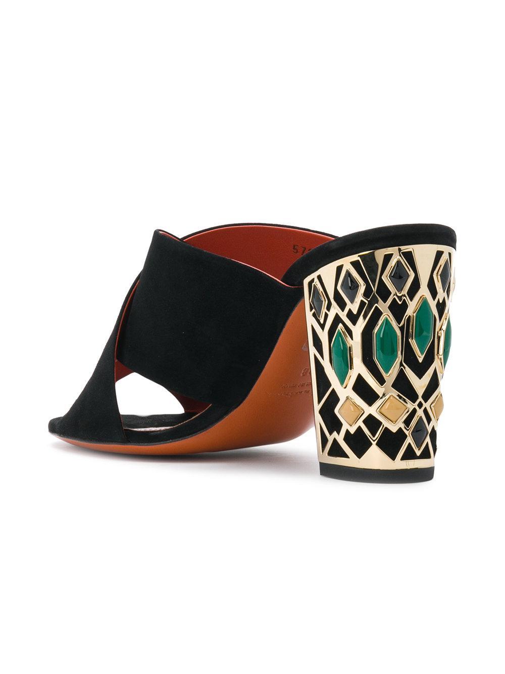Sandales à talon à ornements Cuir Santoni en coloris Noir