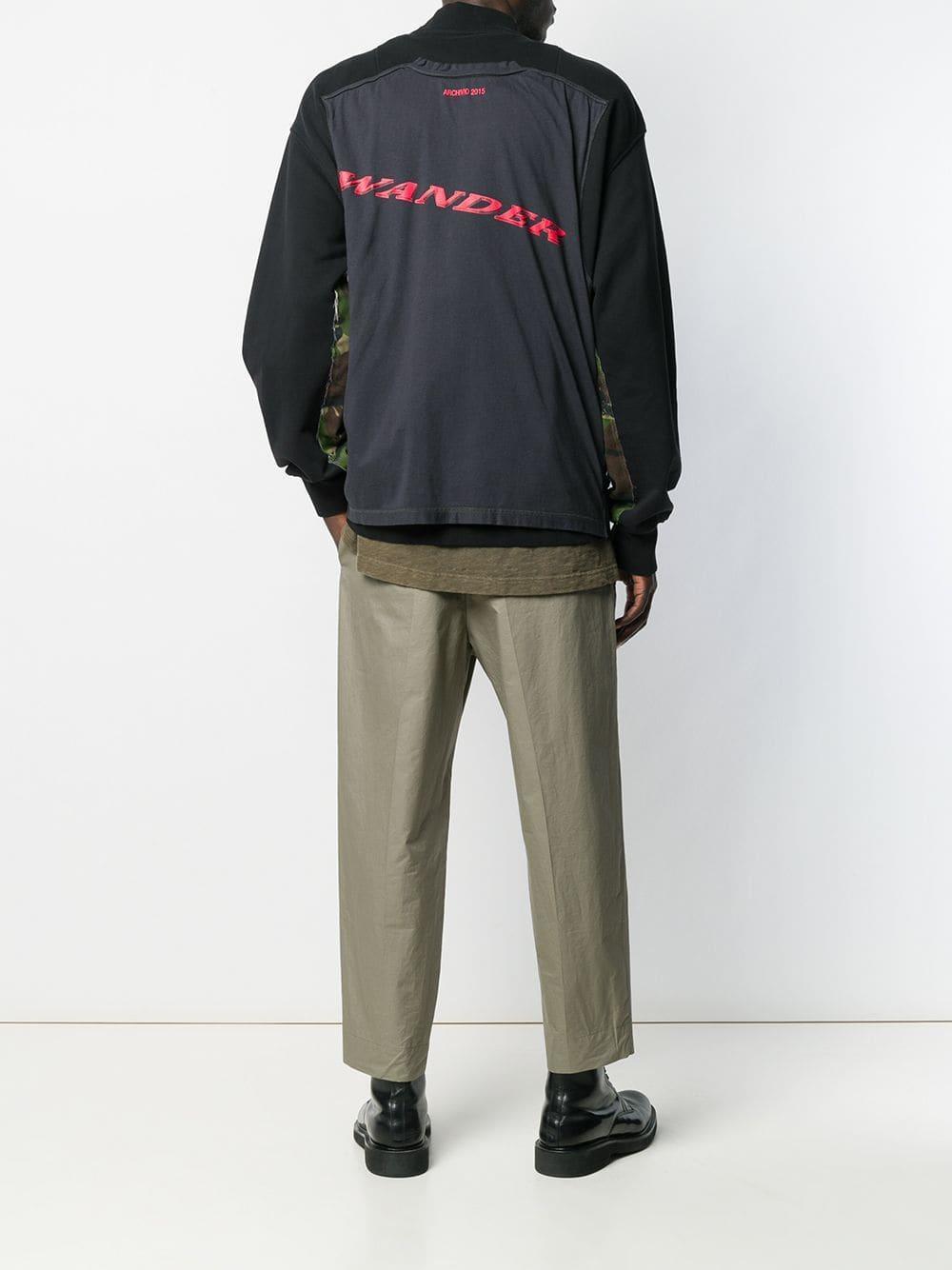 Yang Li Katoen Sweater Met Rits in het Zwart voor heren