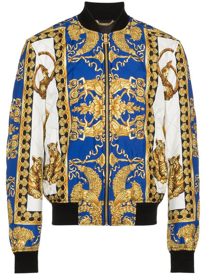 98a52e8d500a Lyst - Versace Barocco Print Bomber Jacket in Blue for Men