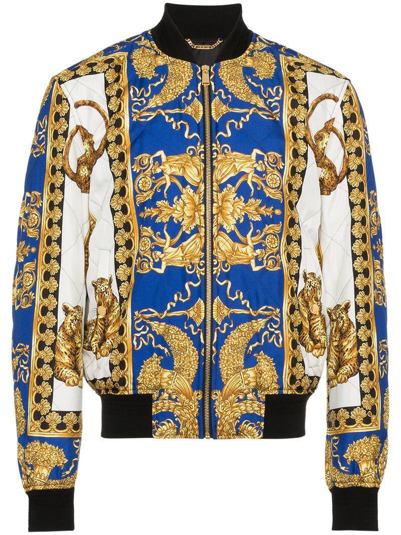 cfaff228d66 Coloris En Baroque Bomber Bleu Homme À Versace Imprimé Lyst Pour Veste  w1xzFqw7O