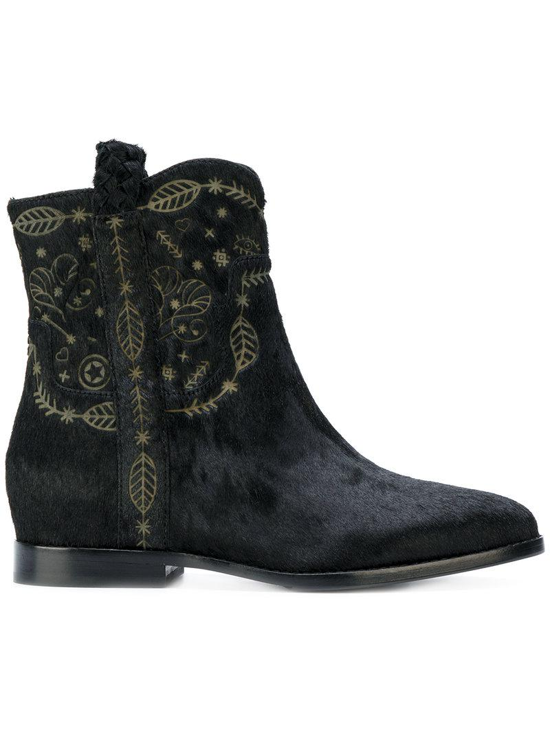 Ash Leather Leaf Embossed Boots In Black Lyst
