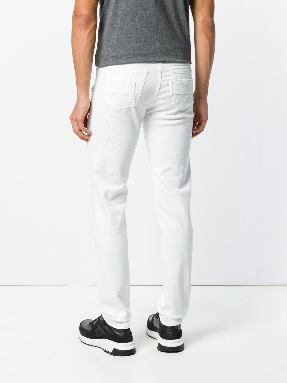 Givenchy Denim Distressed Skinny Jeans in White for Men
