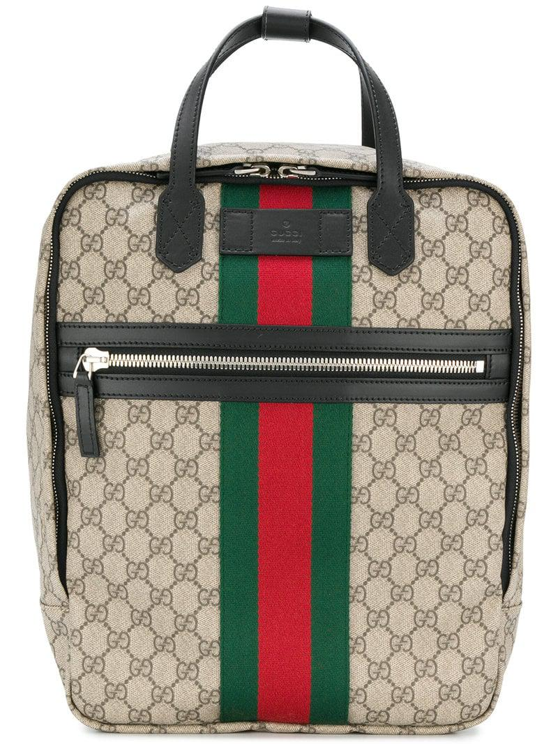f75658592088 Lyst - Gucci Web Trim GG Supreme Backpack for Men