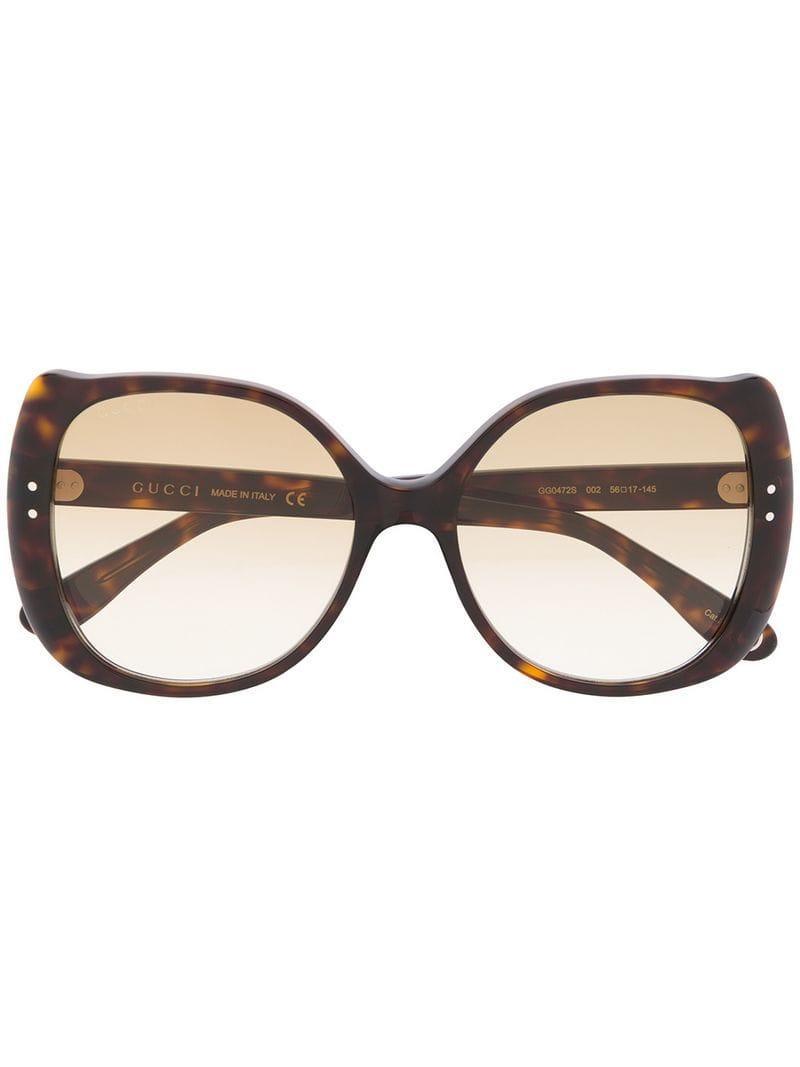 cf579449d7 Gucci - Brown Round Frame Sunglasses - Lyst. View fullscreen