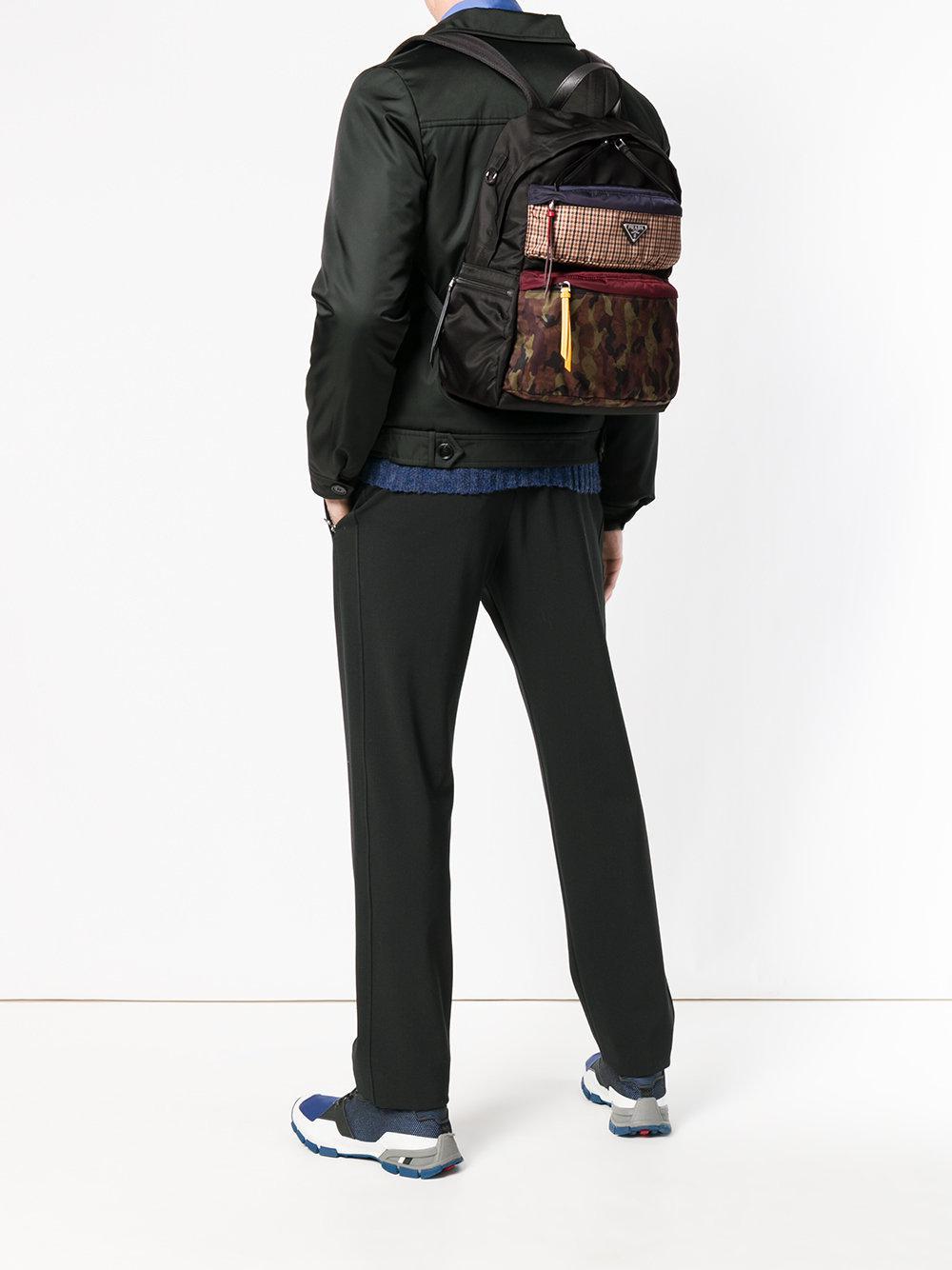 Prada Leather Adjustable Size Backpack in Black for Men