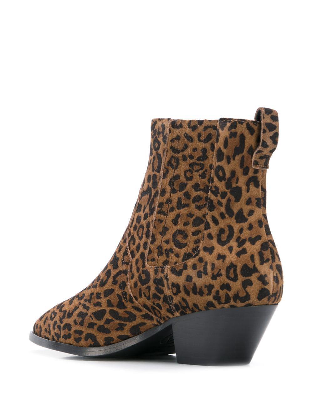 Botines con motivo de leopardo Ash de Ante de color Marrón