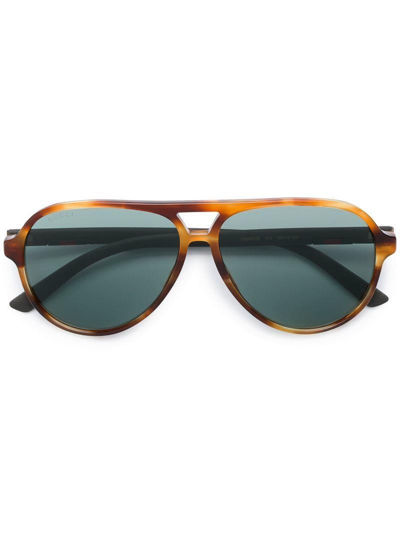 4efa6e23e9 Gucci - Brown Tortoiseshell-effect Aviator Sunglasses - Lyst. View  fullscreen