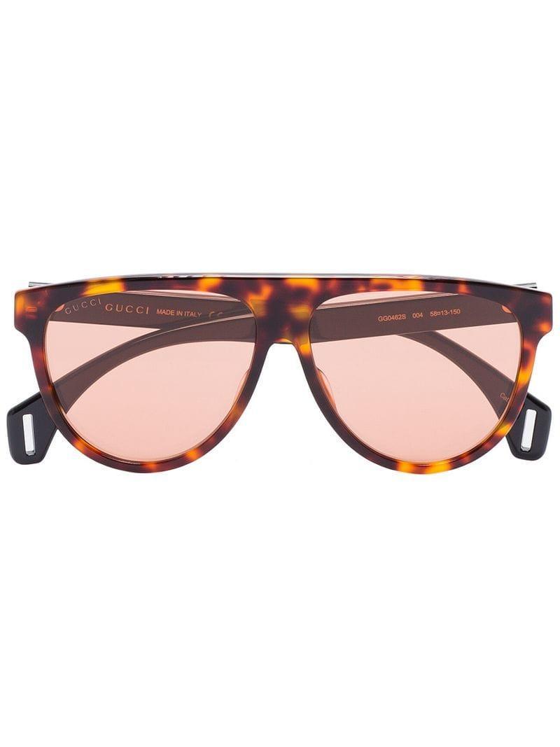 da1ad96f02ffa Gucci Round Tortoiseshell Aviator Style Sunglasses in Brown for Men ...