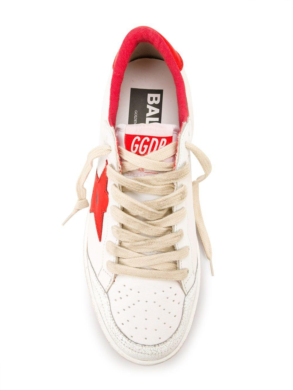 Golden Goose Deluxe Brand Goose Ball Star Sneakers in White (Red)