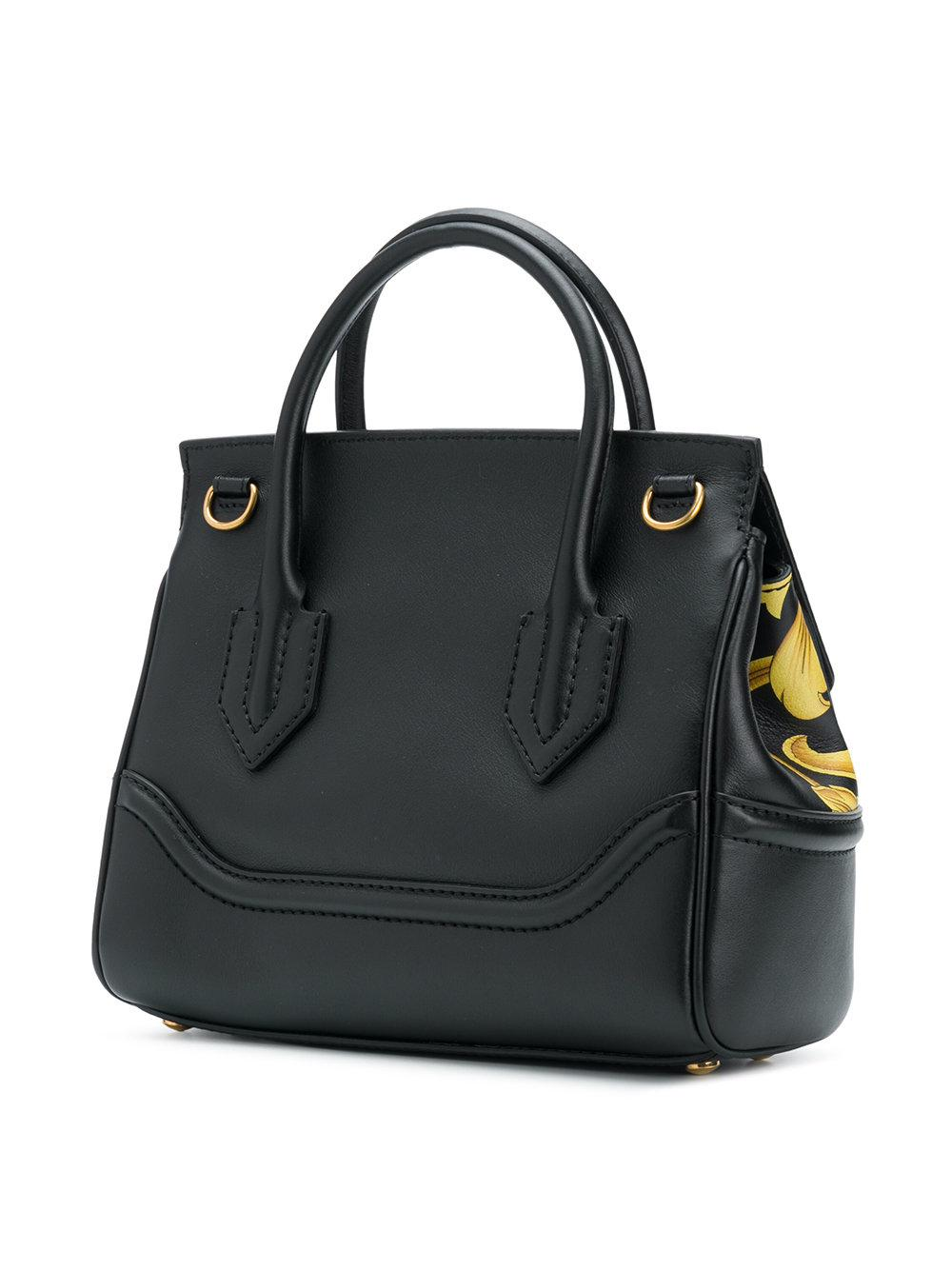 Versace Leather Palazzo Empire Printed Tote in Black