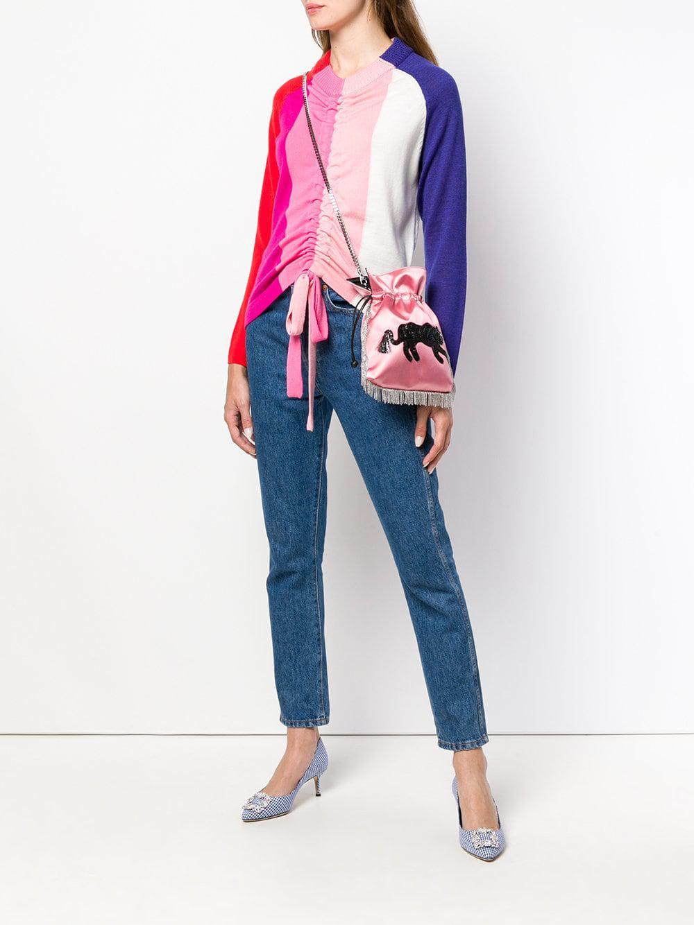 Les Petits Joueurs Silk Embellished Fringed Crossbody Bag in Pink