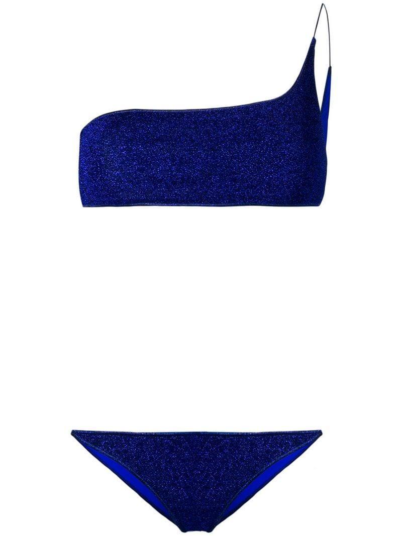 753887d545a6c Oseree - Blue One Shoulder Glitter Bikini - Lyst. View fullscreen
