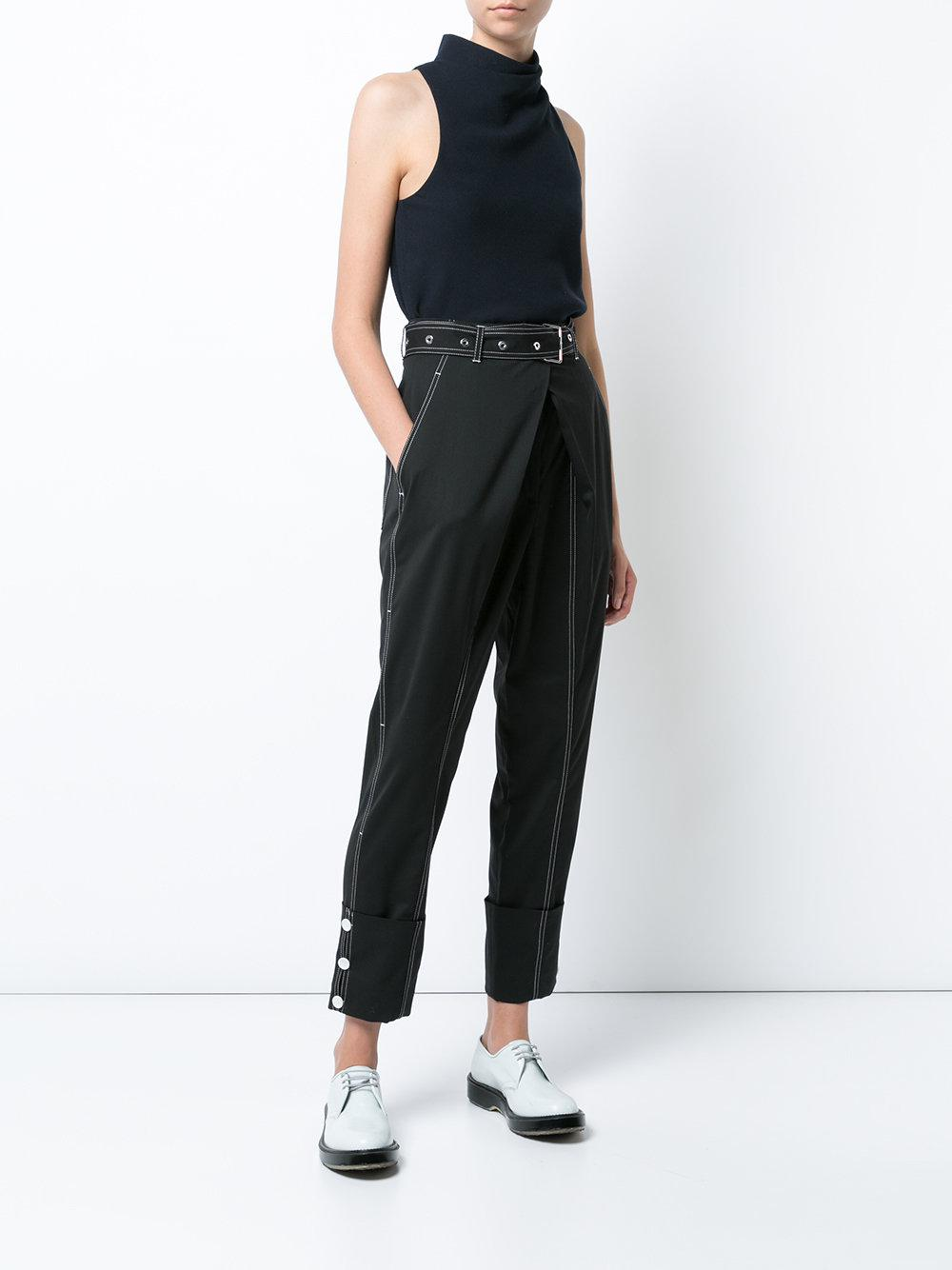 Proenza Schouler Cotton Belted Straight Pant With Cuff in Black