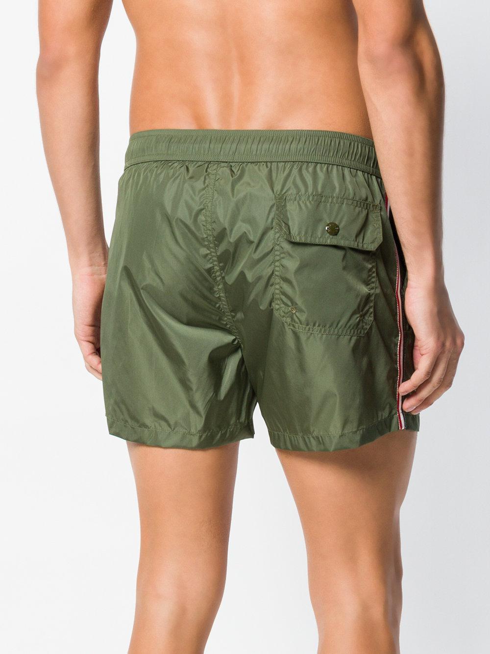 a5b3c62fec47 Lyst - Moncler Striped Trim Swim Shorts in Green for Men