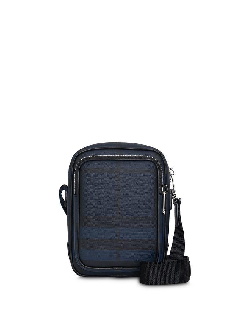 Lyst - Burberry Small London Check Crossbody Bag in Blue for Men b37b464451779