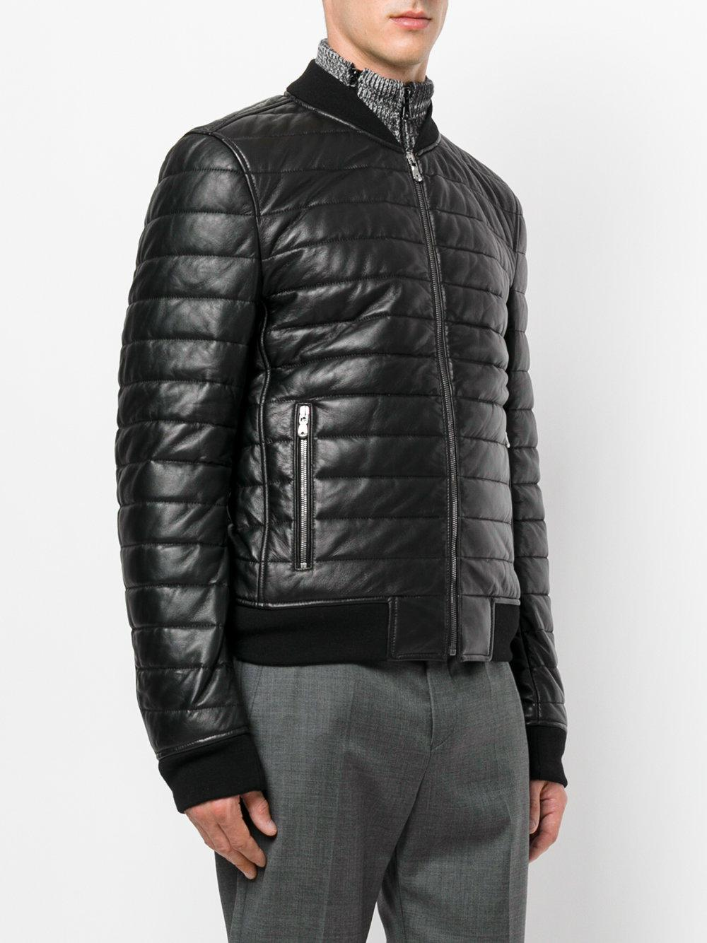 Dolce & Gabbana Leather Padded Jacket in Black for Men