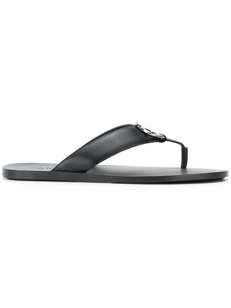 c7e50248b0d31e Gucci Logo Plaque Thong Sandals in Black for Men - Lyst
