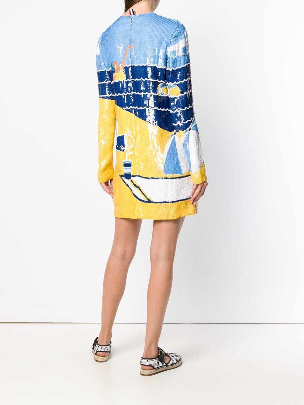 Robe brodée de sequins Thom Browne en coloris Bleu