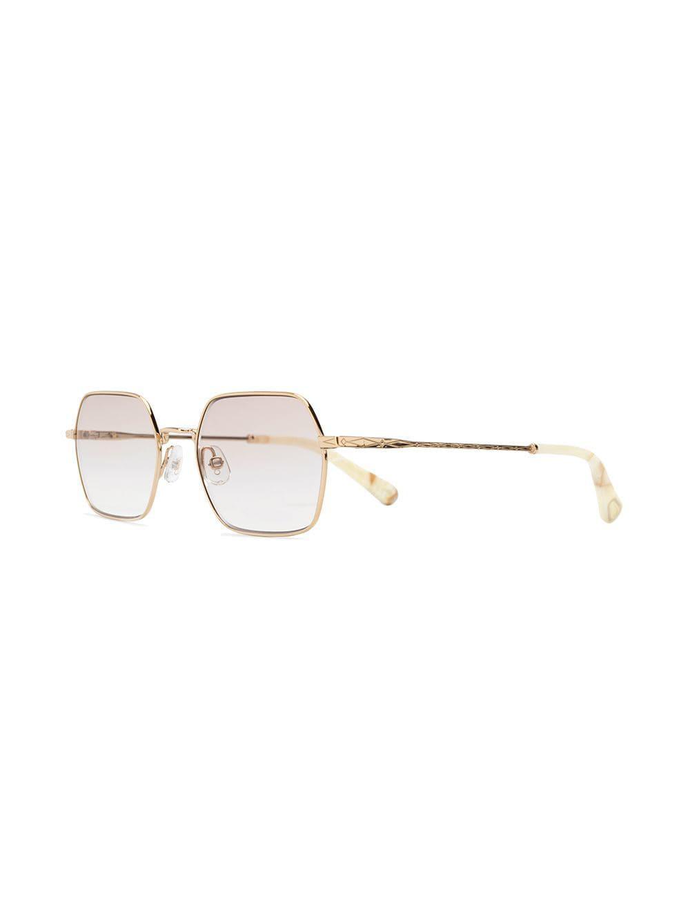 8701ed09af3 Chloé - Metallic Rectangular Frame Glasses - Lyst. View fullscreen